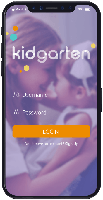 login screen and dashboard view of kidgarten the social network for kindergartens